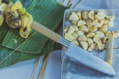 Students learn to make bananas with sticky rice in primary scho royalty free stock photos