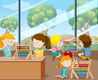 Students Learning with Abacus. Illustration Stock Photo