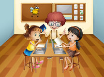 Students learning in classroom stock illustration