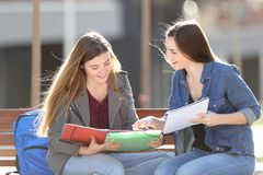 Students learning comparing notes on a bench. Two students learning comparing notes sitting on a bench in a park royalty free stock photo