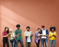 Students Learning Education Social Media Technology Royalty Free Stock Photo