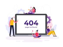 Hand-drawn 404 error banner. Vector illustration. royalty free illustration