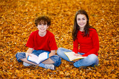 Students learning outdoor Stock Images