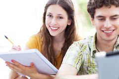 Students learning outdoors Royalty Free Stock Images