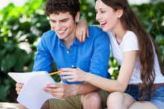Students learning outdoors Stock Photo