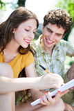 Students learning outdoors Stock Images