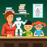 Students learning robotics with teacher and robot. Young honors course students learning robotics with teacher and humanoid bipedal robot.  Flat style vector Royalty Free Stock Photo