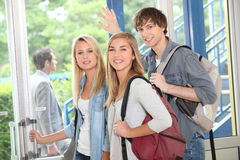 Students leaving. College at the end of the day stock images