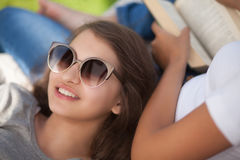 Students leisure time, reading and relax Royalty Free Stock Photography