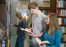 Students in a library Royalty Free Stock Image