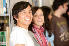 Students in a library Stock Image