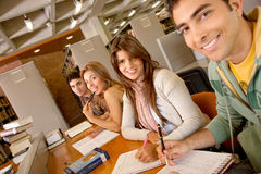 Students at a library Royalty Free Stock Image