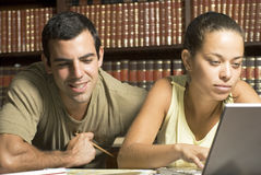 Students in Library - Horizontal Stock Photo