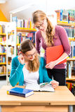 Students in library are a learning group. Students - Young women in library with books in a learning group Stock Photography