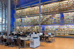 Students in Library of Technical University Delft, The Netherlands. DELFT, THE NETHERLANDS - AUGUST 19, 2017: Students at work in the Library of the Technical stock photos