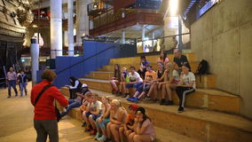 Students listen to a lecture on the history in the Museum. The Dolly shot. stock video
