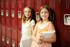 Students by Lockers Stock Photography