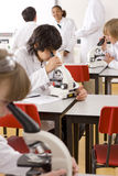 Students looking into microscopes in school laboratory Stock Image