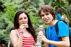 Students during a lunch break Royalty Free Stock Photo