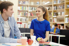 Students at lunch break Royalty Free Stock Images