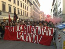 Students in a manifestation in Florence, italy. A protest of students against the politics of the government and the consequences  of the economical crisis in Royalty Free Stock Photography
