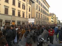 Students in a manifestation in Florence, italy. A protest of students against the politics of the government and the consequences  of the economical crisis in Royalty Free Stock Photo