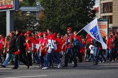 Students march with flags in Moscow Royalty Free Stock Photos