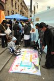 Students of medical faculty give classes to people on the street on healthy life style Stock Photo