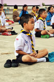 Students meditate. The children are students meditate in school Royalty Free Stock Image