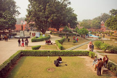 Students meeting in yard of famous Bannares Hindu University with green area Stock Image
