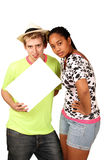 Students with message board Royalty Free Stock Images