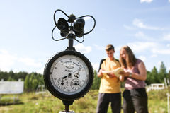 Students meteorologists in the field on a practical training Stock Images