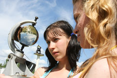 Students meteorologists in the field on a practical training Stock Photography