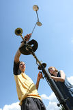 Students meteorologists in the field on a practical training Royalty Free Stock Photography