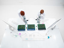 Students  microscope lab analysis Stock Photo