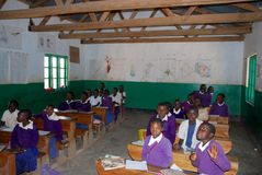 The students of middle school of the village Pomerini in Tanzani Royalty Free Stock Images