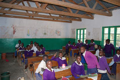 The students of middle school of the village Pomerini in Tanzani Royalty Free Stock Photo