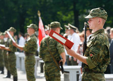 Students at  military academy take the  oath of allegiance to people Royalty Free Stock Images
