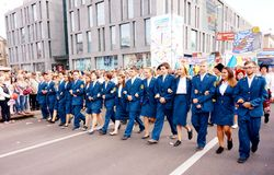 Students of military establishments at the carnival procession in honor of the celebration of the city day. stock photo
