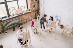 Students in Modern Art Class royalty free stock image