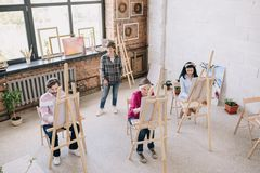 Students in Modern Art Studio stock images