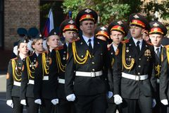 The students of the Moscow cadet corps of the police. Royalty Free Stock Image