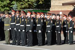 The students of the Moscow cadet corps of the police. Royalty Free Stock Photo