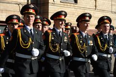 The students of the Moscow cadet corps of the police. Royalty Free Stock Images