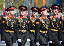 The students of the Moscow Suvorov military school on dress rehearsal of parade on red square in honor of Victory Day. Stock Photography