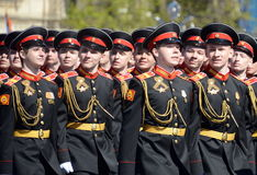 The students of the Moscow Suvorov military school on dress rehearsal of parade on red square in honor of Victory Day. Stock Photo