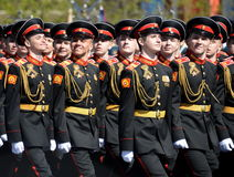 The students of the Moscow Suvorov military school on dress rehearsal of parade on red square in honor of Victory Day. Royalty Free Stock Photo