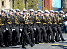 The students of the Nakhimov naval school on the rehearsal parade on red square in honor of Victory Day. Stock Images