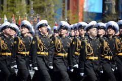 The students of the Nakhimov naval school on the rehearsal parade on red square in honor of Victory Day. Royalty Free Stock Images