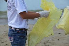 Students of Nha Trang University cleaning the beach Stock Photography